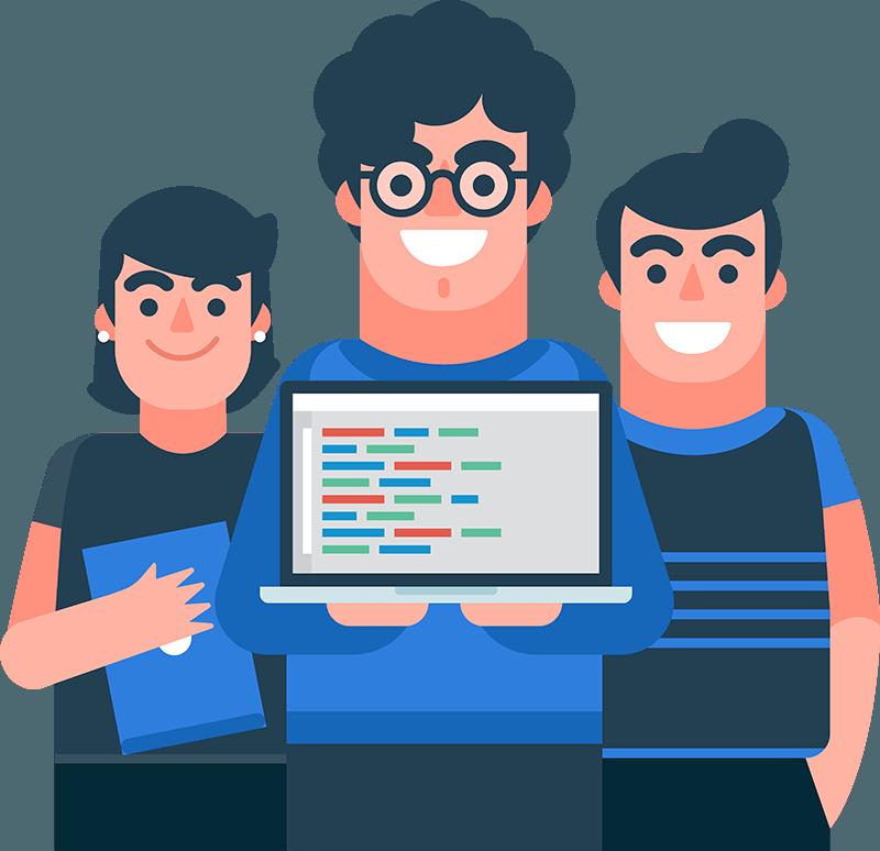 Ilustración de unos chicos programadores