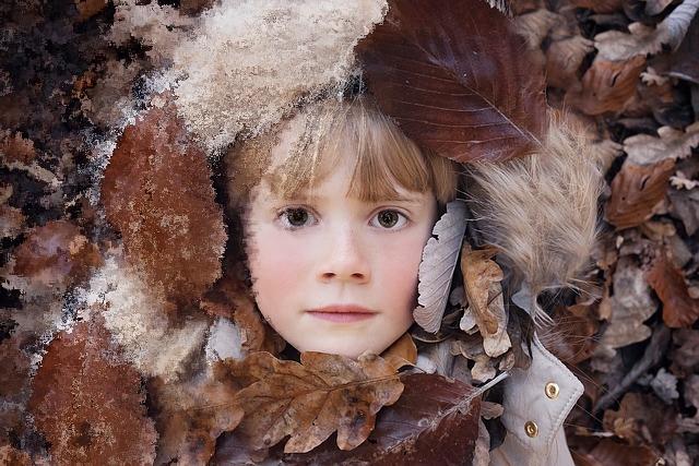 Retrato de un niño sobre hojas de otoño
