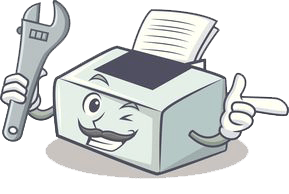Ilustración humanizada de una impresora
